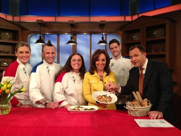 chef Barret along with fellow cast of Hell's Kitchen on Fox 5 morning show